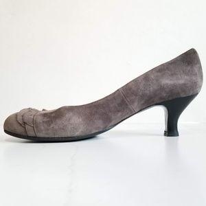 Chie Mihara Shoes - Chie Mihara Gray Suede Pumps Black Heels Ruffles